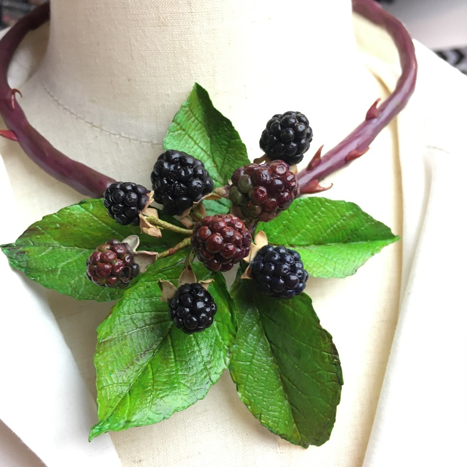 cindy lietz blackberry necklace made from cosclay polymer clay