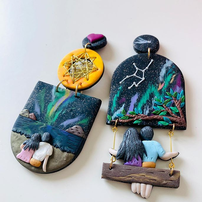 polymer clay earrings couple watching night sky