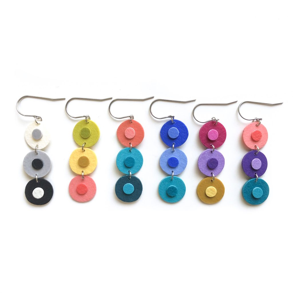polymer clay earrings circles heidi helyard