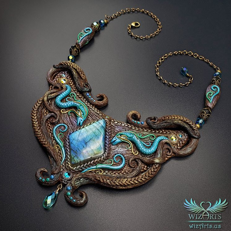 polymer clay and labradorite necklace by WizArts