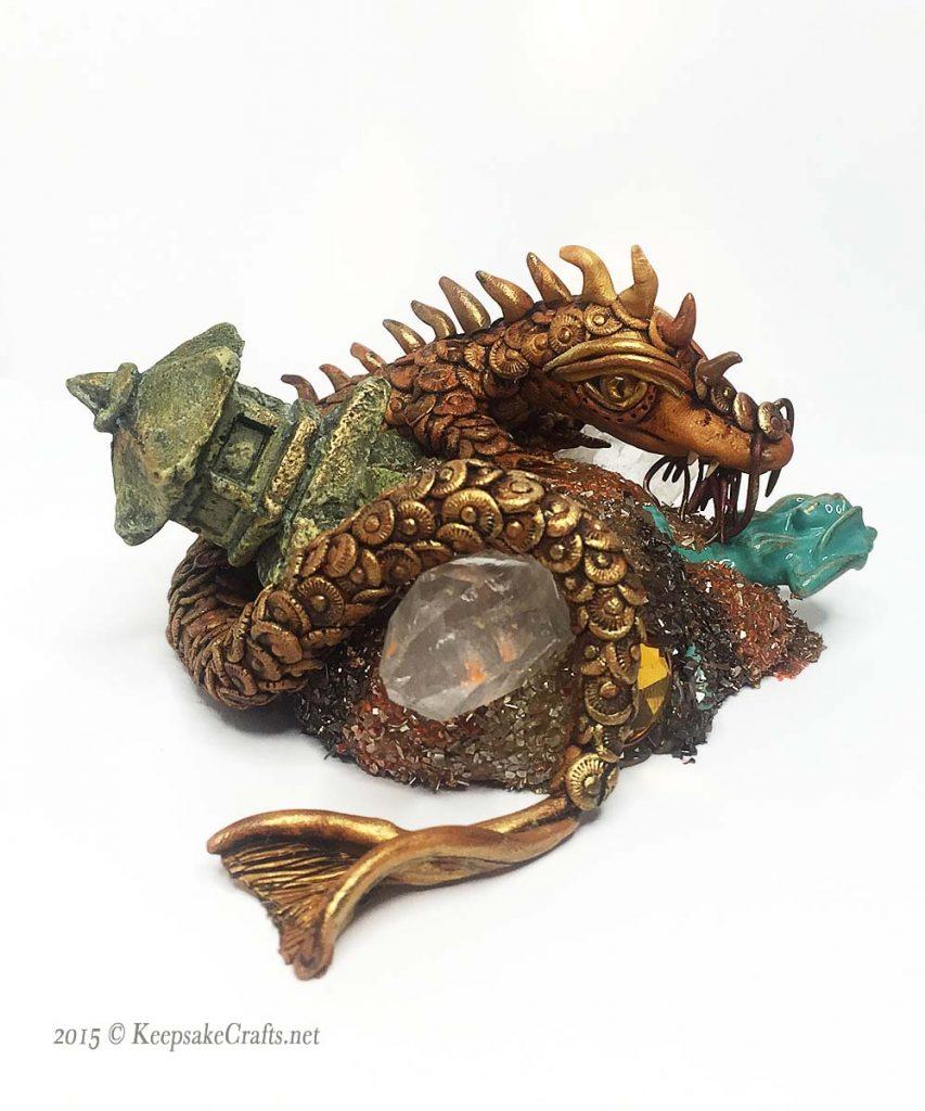 Polymer clay dragon jinselong sandy huntress