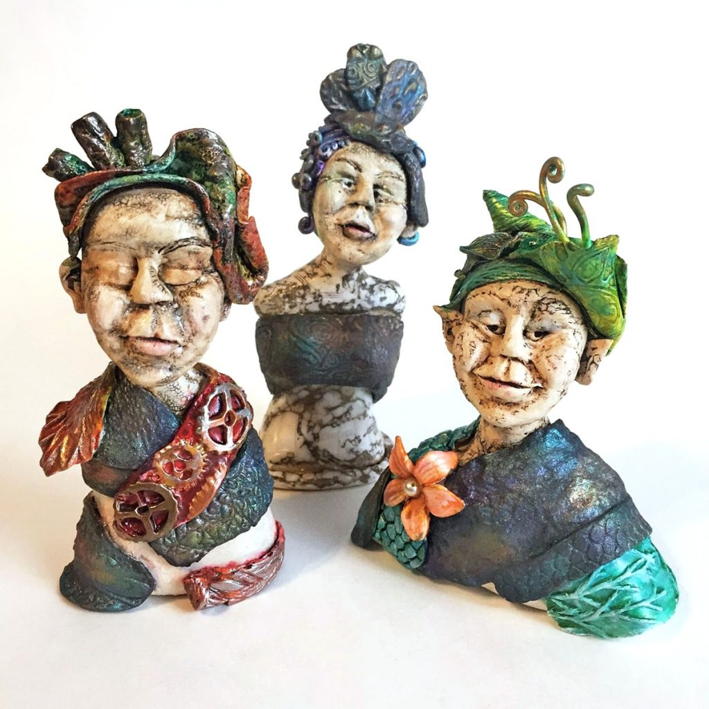 Polymer Clay Weekins busts by Sandy Huntress
