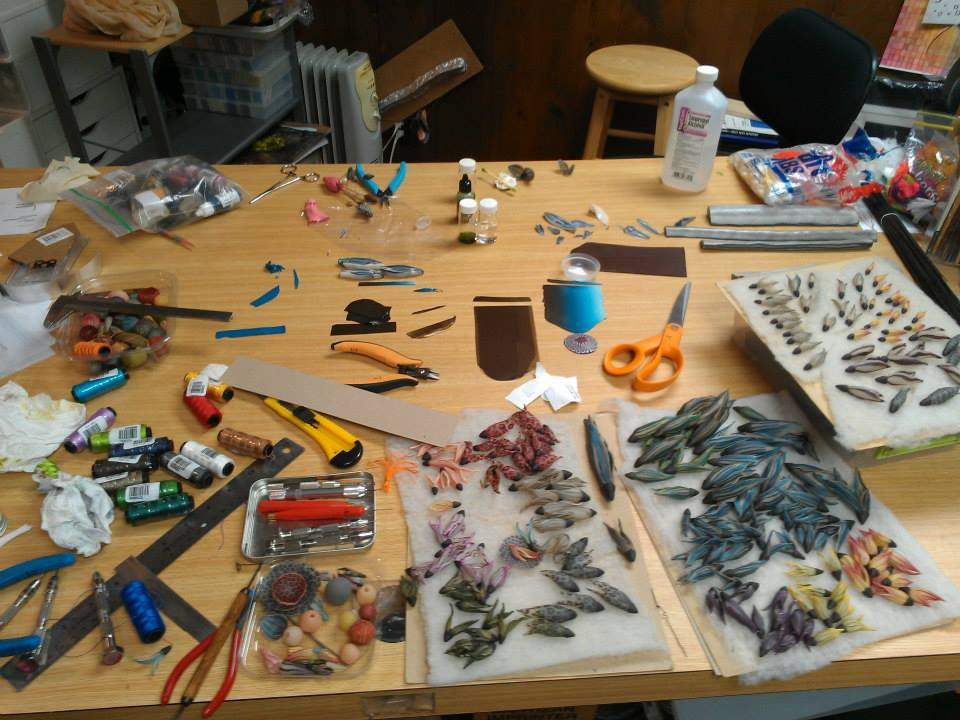 Polymer Clay Artist Laura Tabakman's work table.