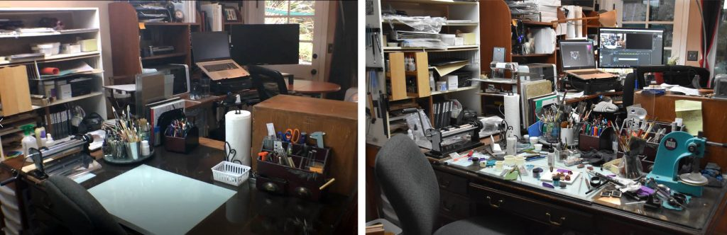 Sage Bray's studio showing the clean and messy versions side by side.