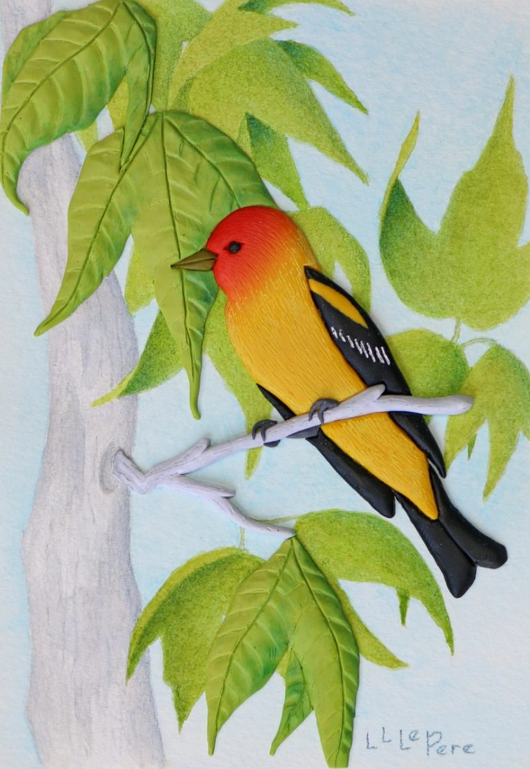 Polymer clay relief painting of a western tanager by Laura LaPere