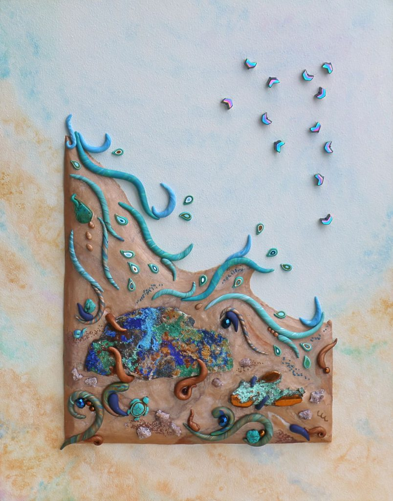 Polymer clay mixed media painting by Laura LePere