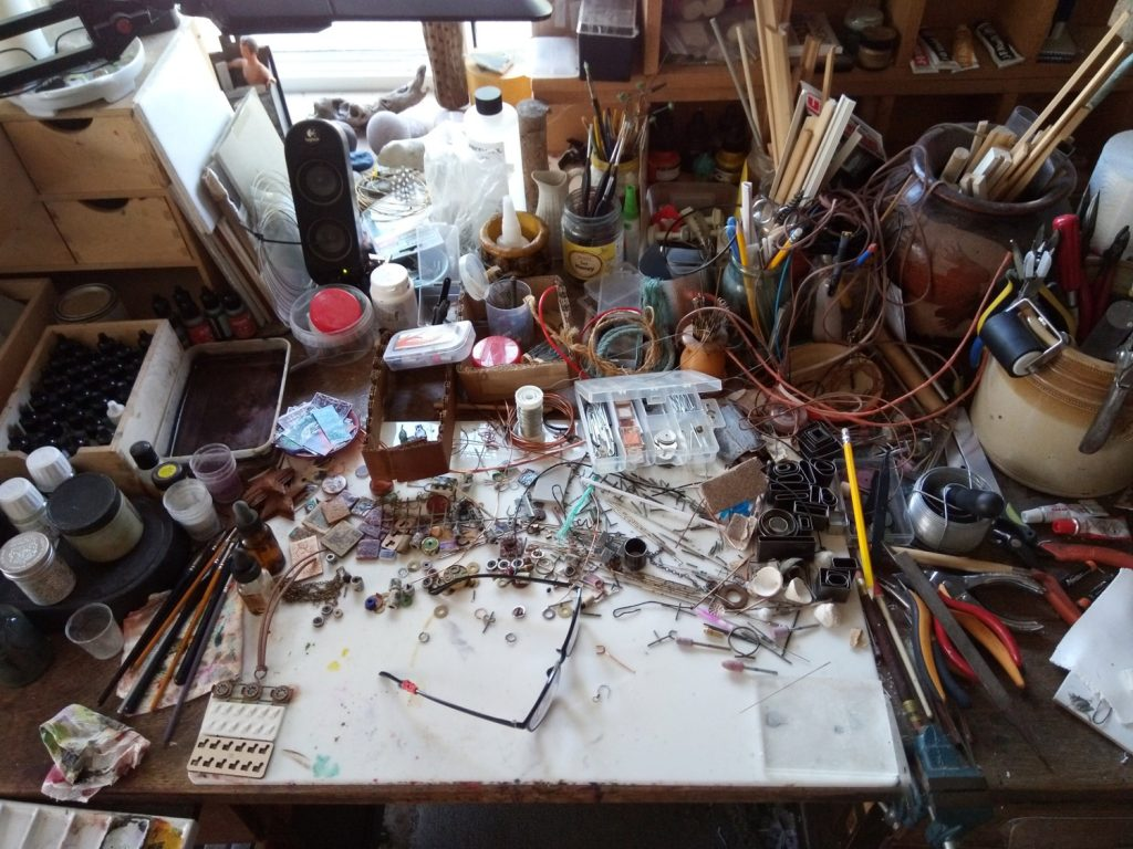 workspace of Jon Burgess, polymer clay beadmaker